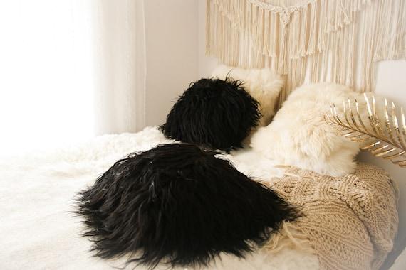 ON SALE Real Icelandic Black Sheepskin Pillow Sheepskin Cushion