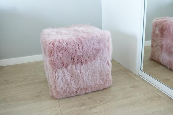 Real Sheepskin Lilac Pouf, Fur Bench, Real Fur Pouf, Sheepskin Cube, Sheepskin Ottoman