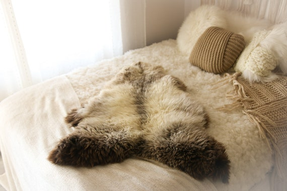 Real Sheepskin Rug Shaggy Rug Chair Cover Sheepskin Throw Sheep Skin Ivory Brown Sheepskin Home Decor Rugs #OCTHER75