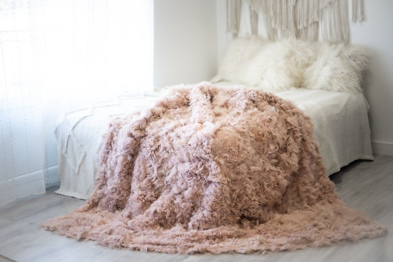 Luxurious Patchwork Toscana Sheepskin Real Fur Throw | Real Fur Blanket | Sheepskin throw  Sheepskin Blanket | Boho Throw FuFu117 Curly Pink