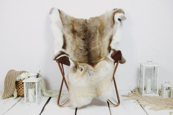 Reindeer Hide | Reindeer Rug | Reindeer Skin | Throw XXL EXTRA LARGE - Scandinavian Style Christmas Decor Brown White Hide #Kre1