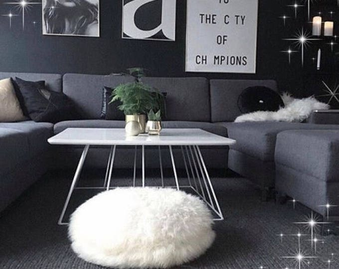 Beautiful Natural Creamy White Round Real Sheepskin Decorative Cushion| Floor Pillow | Floor cushion | Both Side Fur Scandinavian St