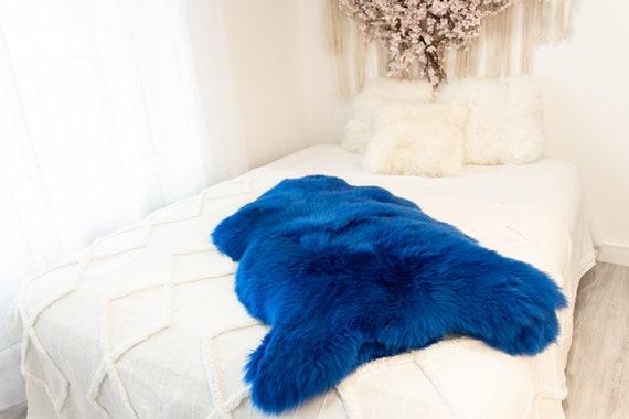 Genuine Natural Indigo Blue Sheepskin Rug Sheepskin Throw Scandinavian Style | Scandinavian Rug | Sheep Skin -  WHOLESALE PACK 10 PIECES