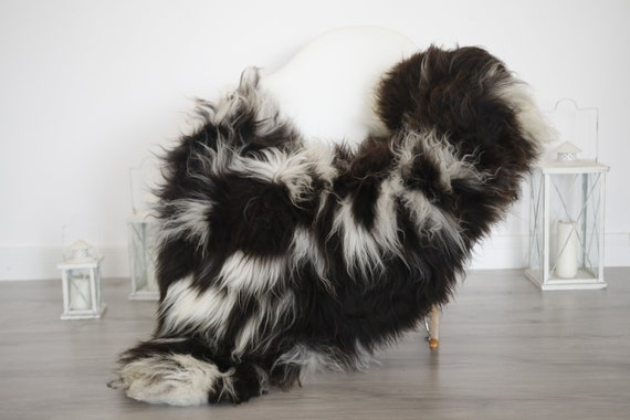 Real Sheepskin Rug Shaggy Rug Chair Cover Sheepskin Throw Sheep Skin Brown White Sheepskin Home Decor Rugs #6her46
