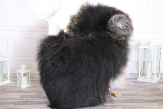 Icelandic Sheepskin | Real Sheepskin Rug |  Super Large Sheepskin Rug Gray Black Gold | Fur Rug | Homedecor #KOWISL3