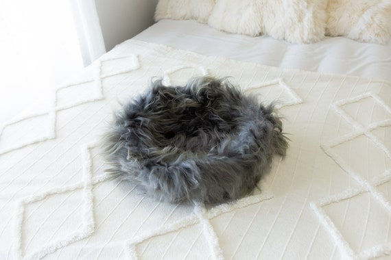 Sheepskin Cat Bed Or Dog Bed Cat Cave Unique Pet Bed Cat House Pet Furniture Hand Made With Genuine Real Sheepskin XXL Extra Large #Bed3