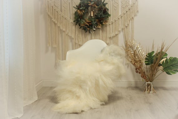 Real Icelandic Sheepskin Rug Scandinavian Decor Sofa Sheepskin throw Chair Cover Natural Sheep Skin Rugs Black White #Iceland92