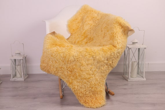 Real Sheepskin Rug Genuine Rare Gotland Sheepskin Rus - Curly Fur Rug Scandinavian Sheepvskin - Beige Yellow Sheepskin #4Margo10