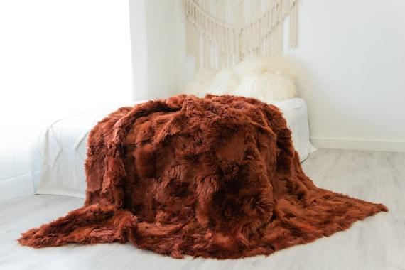 Luxurious Patchwork Toscana Sheepskin Real Fur Throw Real Fur Blanket   Sheepskin throw   Sheepskin Blanket Boho Throw Rusty Red #FuFu105