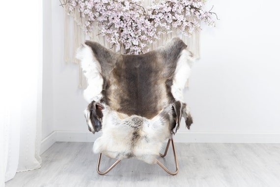 Reindeer Hide | Reindeer Rug | Reindeer Skin | Throw XXL EXTRA LARGE - Scandinavian Style Christmas Decor Brown White Hide #Reindeer34