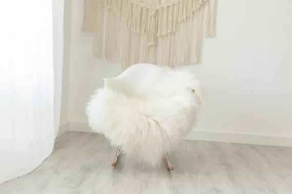 Real Icelandic Sheepskin Rug Scandinavian Decor Sofa Sheepskin throw Chair Cover Natural Sheep Skin Rugs White Gray #Iceland374