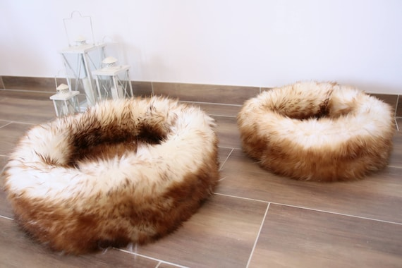 Large Sheepskin Cat bed | Sheepskin Dog bed | Cat Pouf | Dog Pouf | Sheepskin Cat Mat | Dog Mat | Brown Pet Bed | Fur Pet Bed