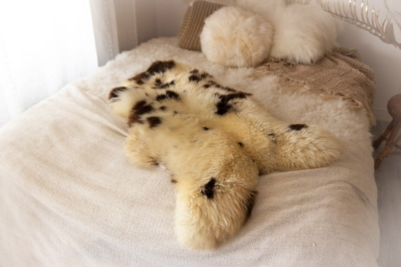 Real Sheepskin Rug Shaggy Rug Chair Cover Sheepskin Throw Sheep Skin Ivory Brown Sheepskin Home Decor Rugs #KWAHER1