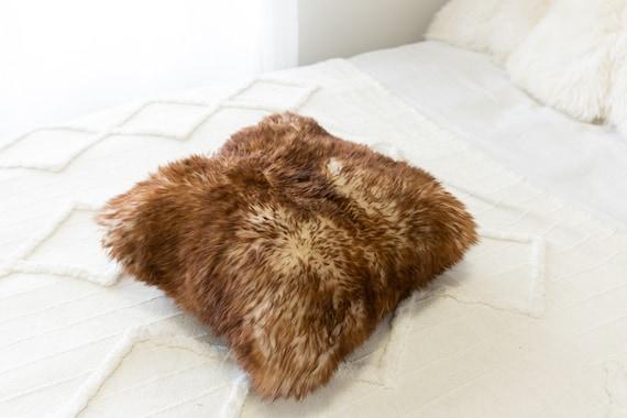 Sheepskin Fur Pillow, Real fur pillow, Brown mouflon fur pillow, Square sheepskin pillow, Brown pillow, scandinavian pillow, Both side fur