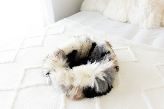 Sheepskin Cat Bed Or Dog Bed Cat Cave Unique Pet Bed Cat House Pet Furniture Hand Made With Genuine Real Sheepskin XXL Extra Large #Bed21