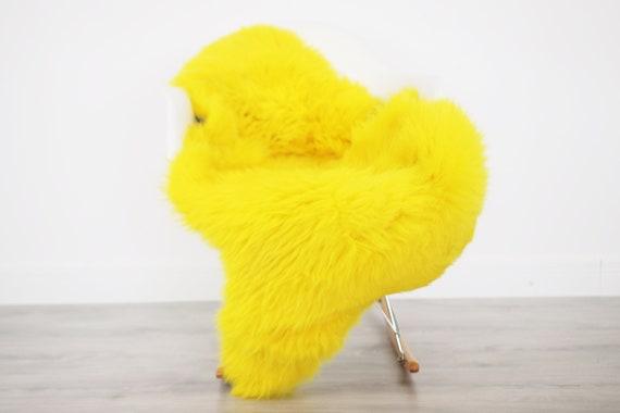 Genuine Natural Yellow Sheepskin Rug Sheepskin Throw  Scandinavian Style | Scandinavian Rug | Yellow Sheepskin Home Decor