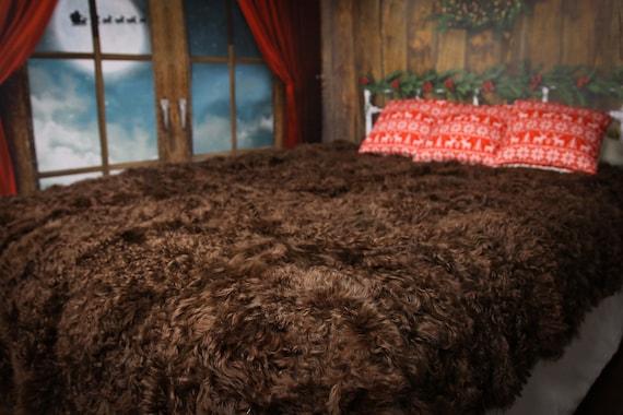 Luxurious Toscana Sheepskin Real Fur Bed Spread Throw Real Fur Blanket Sheepskin throw Sofa Cover Luxury Blanket Comforter Brown Curly Fur