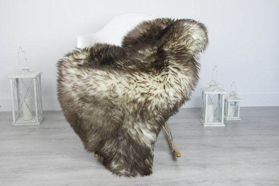 Real Sheepskin Rug Shaggy Rug Chair Cover Sheepskin Throw Sheep Skin Brown Sheepskin Home Decor Rugs #7her33