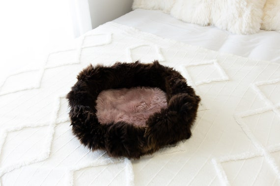 Sheepskin Cat Bed Or Dog Bed Cat Cave Unique Pet Bed Cat House Pet Furniture Hand Made With Genuine Real Sheepskin XXL Extra Large #Bed7