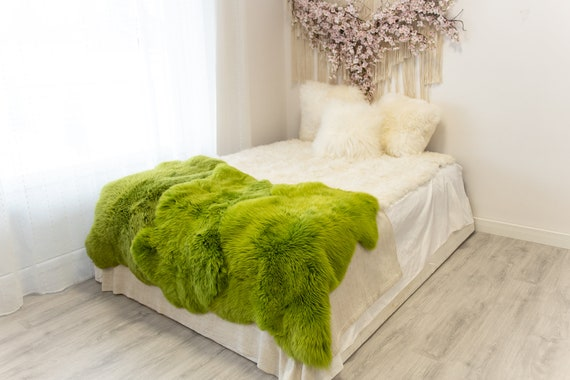 Triple Green Merino Sheepskin Rug | Long rug | Shaggy Rug | Chair Cover | Area Rug | Green Rug | Carpet | Green Throw | Sheep Skin