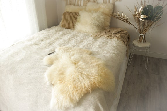 Real Sheepskin Rug Genuine Rare Gotland Sheepskin Rus - Curly Fur Rug Scandinavian Sheepvskin - Brown Ivory Sheepskin #0Margot6
