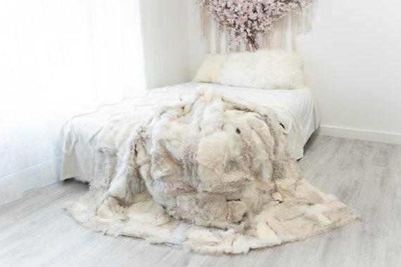 Luxurious Patchwork Toscana Sheepskin Real Fur Throw   Real Fur Blanket   Sheepskin throw   Sheepskin Blanket Boho Throw Ivory #FuFu90