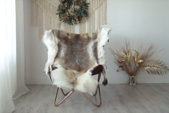 Reindeer Hide | Reindeer Rug | Reindeer Skin | Throw XXL EXTRA LARGE - Scandinavian Style Christmas Decor Brown White Hide #Wre4