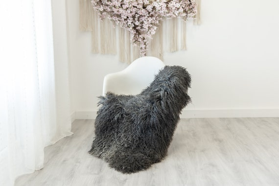 Real Sheepskin Rug Genuine Rare Gotland Sheepskin Rus - Curly Fur Rug Scandinavian Sheep skin - Curly Rug Gray Sheepskin #G12