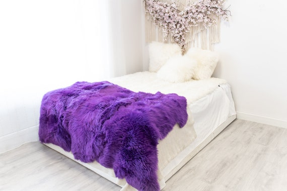 Triple Purple Merino Sheepskin Rug | Long rug | Shaggy Rug | Chair Cover | Area Rug | Purple Rug | Carpet | Purple Throw | Sheep Skin