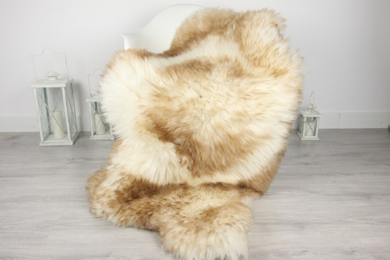 ON SALE Genuine Natural Brown Tipped Sheepskin Rug, Pelt, soft long fur XXL Large - Mouflon