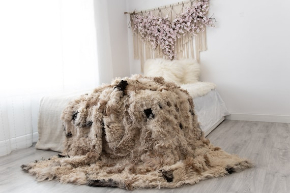 Luxurious Patchwork Toscana Sheepskin Real Fur Throw | Real Fur Blanket | Sheepskin throw | Sheepskin Blanket | Boho Throw |FuFu50
