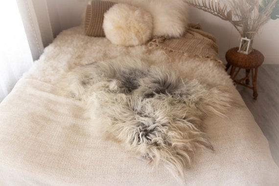 Real Icelandic Sheepskin Rug Scandinavian Decor Sofa Sheepskin throw Chair Cover Natural Sheep Skin Rugs Gray Fur Rug #KWAISL13