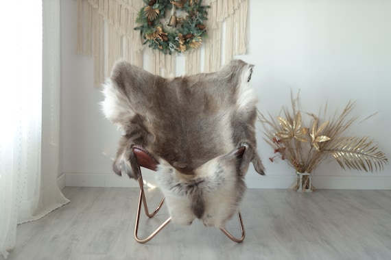 Reindeer Hide | Reindeer Rug | Reindeer Skin | Throw XXL EXTRA LARGE - Scandinavian Style Christmas Decor Brown White Hide #Wre19