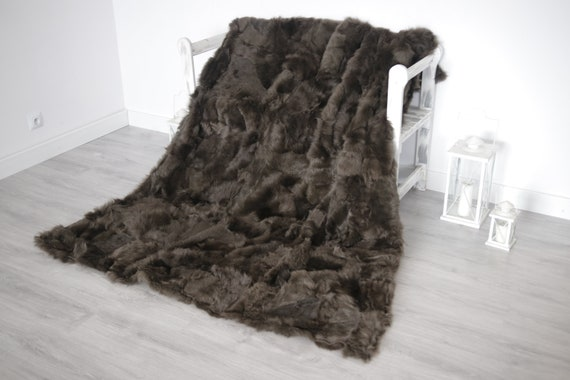 Luxurious Patchwork Toscana Sheepskin Real Fur Throw | Real Fur Blanket | Sheepskin throw | Brown |Fu990