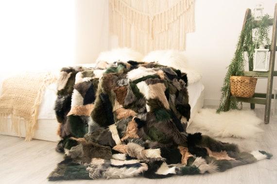 Luxurious Toscana Sheepskin Real Fur Bed Spread Throw Real Fur Blanket Sheepskin throw Sofa Cover Luxury Blanket Comforter Black Brown Fu37