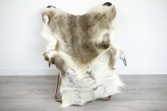 Reindeer Hide | Reindeer Rug | Reindeer Skin | Throw XXL EXTRA LARGE - Scandinavian Style Christmas Decor Brown White Hide #Ire38
