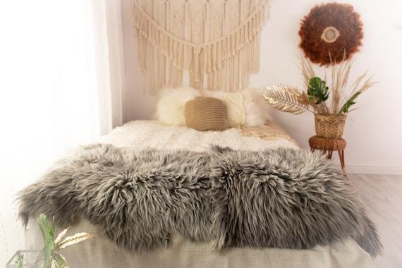 Double XXL Sheepskin Rug | Long rug | Shaggy Rug | Chair Cover | Runner Rug | Carpet | Gray White Sheepskin | Sheepskin Rug | POL13