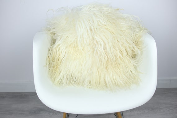 Mongolian Sheepskin Fur Pillow, Real fur pillow,Ivory Fur pillow, Square sheepskin pillow, Ivory pillow, scandinavian pillow, Both side fur