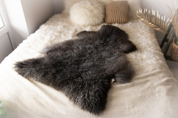 Real Sheepskin Rug Genuine Rare Gotland Sheepskin Rus - Curly Fur Rug Scandinavian Sheep skin - Gray Brown Curly Sheepskin #Bohgot15