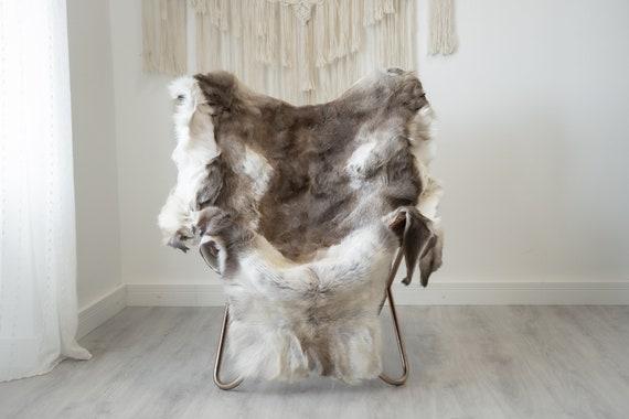 Reindeer Hide | Reindeer Rug | Reindeer Skin | Throw XXL EXTRA LARGE - Scandinavian Style Christmas Decor Brown White Hide #Reindeer82