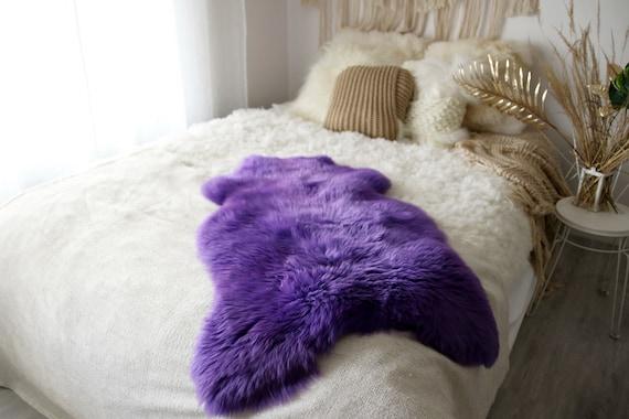Genuine Natural Purple Sheepskin Rug Sheepskin Throw  Scandinavian Style | Scandinavian Rug | Purple Sheepskin