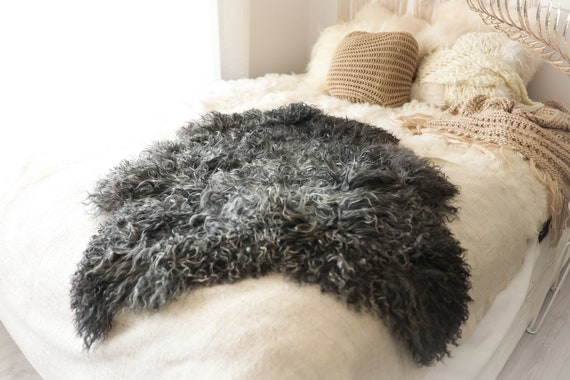 Real Sheepskin Rug Genuine Rare Gotland Sheepskin Rus - Curly Fur Rug Scandinavian Sheep skin - Gray Brown Curly Sheepskin #2Bohgot6