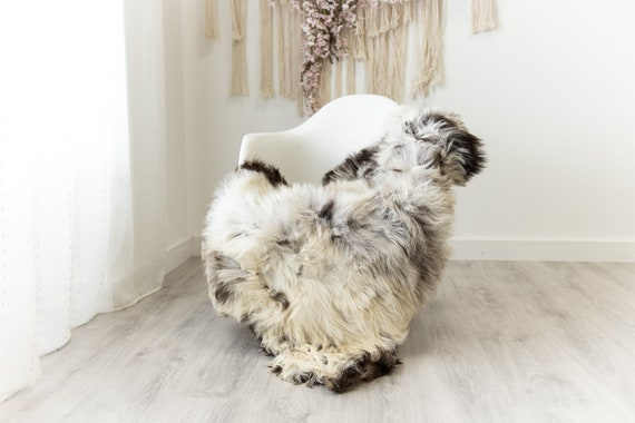 Real Sheepskin Merino Rug Shaggy Rug Chair Cover Sheepskin Throw Sheep Skin Sheepskin Home Decor Rugs Blanket Gray Brown #herdwik102