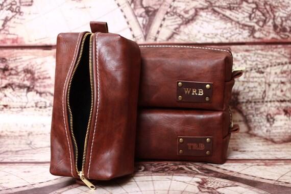 HANDMADE Men's Leather Toiletry Case Dopp Kit Shaving Bag OOAK Groomsmen Present Groomsman Gift for him, for man, for boyfriend, for husband