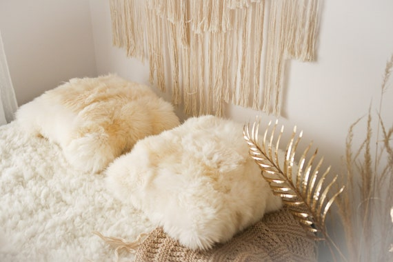 Beautiful unique real, natural SHEEPSKIN Pillow Sheepskin Cushion, soft, thick fur! - Large creamy white