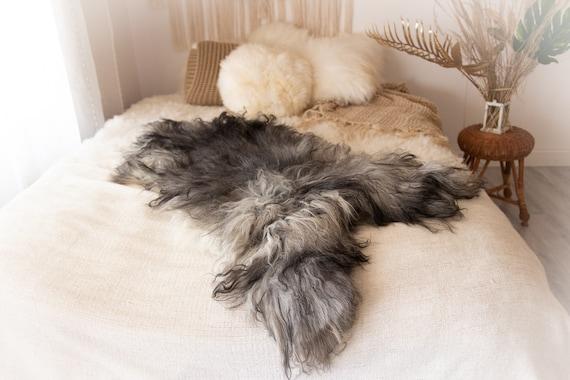 Real Icelandic Sheepskin Rug Scandinavian Decor Sofa Sheepskin throw Chair Cover Natural Sheep Skin Rugs Gray Fur Rug #KWAISL12