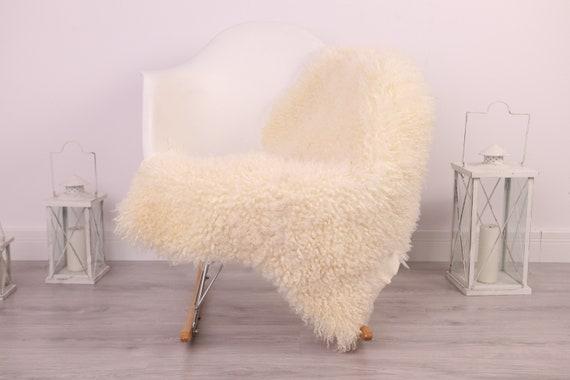 Real Sheepskin Rug Genuine Rare Gotland Sheepskin Rus - Curly Fur Rug Scandinavian Sheepvskin - Ivory White Sheepskin #4Margo7