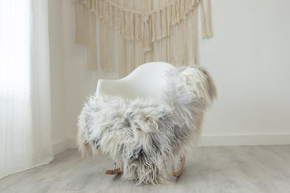 Real Icelandic Sheepskin Rug Scandinavian Decor Sofa Sheepskin throw Chair Cover Natural Sheep Skin Rugs White Gray #Iceland383