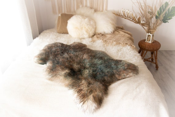 Real Sheepskin Rug Shaggy Rug Chair Cover Sheepskin Throw Sheep Skin Ivory Brown Blue Tips Sheepskin Home Decor Rugs #KWAHER6