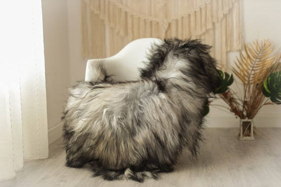 Real Icelandic Sheepskin Rug Scandinavian Decor Sofa Sheepskin throw Chair Cover Natural Sheep Skin Rugs Gray #Iceland17